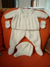 Traditional pram suit in cables and moss stitch