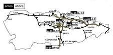 Mapa actualizado por el Ministerio de Fomento de las vías de alta capacidad en Asturias