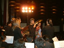 Speeches after a concert of Orquesta Sinfónica de El Alto at Teatro Municipal, El Alto