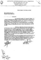 Carta precentada al Diputado de la Nacion