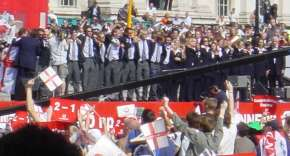 England's Hopes celebrate in Trafalgar Square