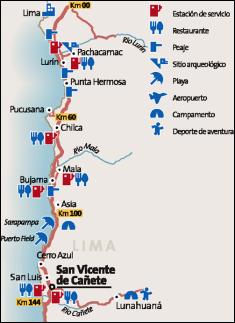 Mapa Lima - San Vicente de Cañete