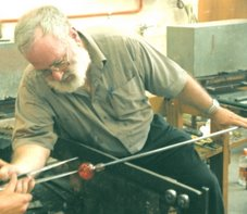 Stuart tries blowing glass