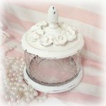 So Shabby Pink Glass Vanity Dish