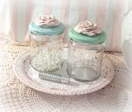 So Shabby Pink Signature Rose Studded Jars