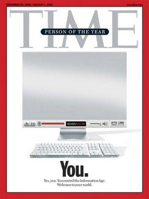 Por hacerte con las riendas de los medios a escala global, por fundar y estructurar la nueva democracia digital, por trabajar a cambio de nada y ganar a los profesionales en su propio juego, el personaje del año 2006 eres tú...