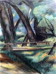 Thompson frequently portrayed the cottonwood trees, bridges and footpaths on the DeBoer property.