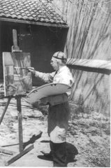 John Edward Thompson, his mural studio, 1942.