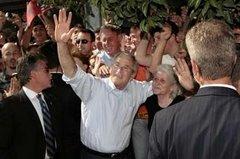 President Bush, in Fushe-Kruja, Albania