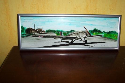 Avion a Deaux (peinture sur verre)