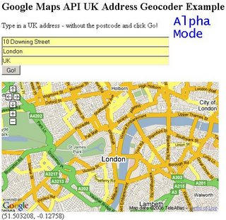 UK Address Geocoder Alpha - 10 Downing Street - Zoomed Out