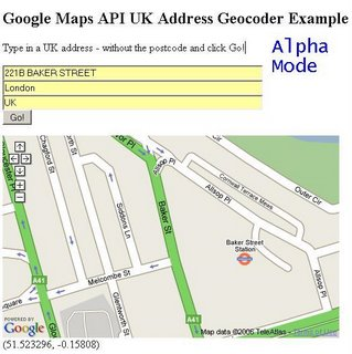 UK Address Geocoder Alpha - 221B Baker Street - Zoomed In