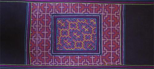 muestra de telas pintadas y bordadas Herlinda Agustin Artista Shipiba