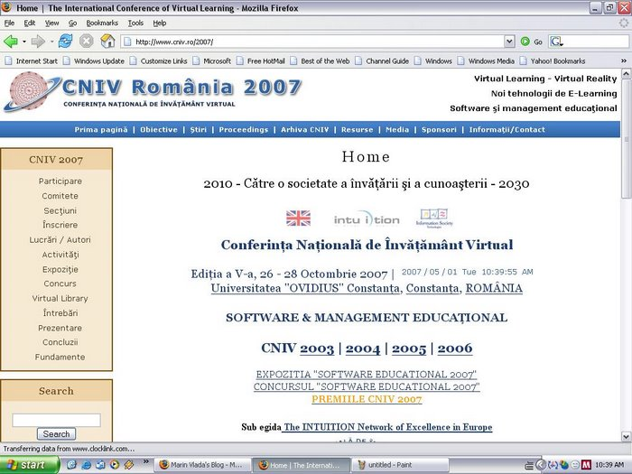 Web site CNIV 2007 (powered by Drupal and Siveco)