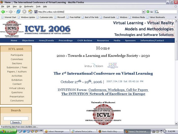 Web site ICVL 2006 (in conjuction with the CNIV 2006)