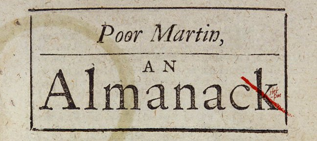 Poor Martin&#39;s Almanac