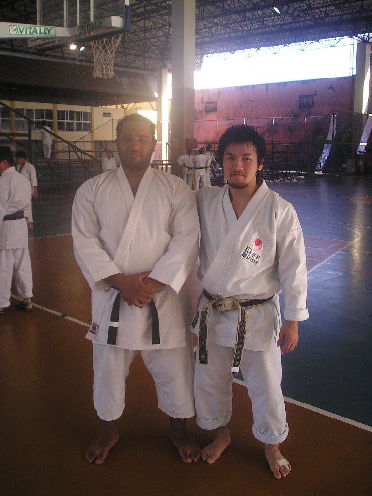 Prof. Geordano e Prof. Takuma - curso de Karatê