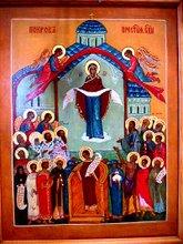 icono de la protección de la madre de dios