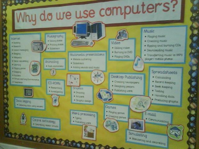 Ict Classroom Ideas ~ Year six teacher display why do we use computers
