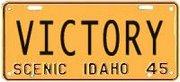 Victory 1945 Idaho License Plate