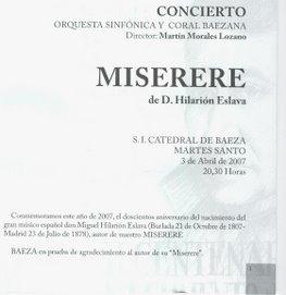 MISERERE DE HILARIÓN ESLAVA COMPUESTO PARA LA S.I. CATEDRAL DE BAEZA