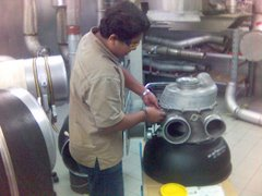 repairing air cycle machine during industrial training