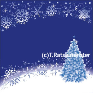 Snowflakes and christmas tree abstract background, blue and white, square