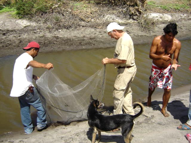 3 men, a dog, and a net