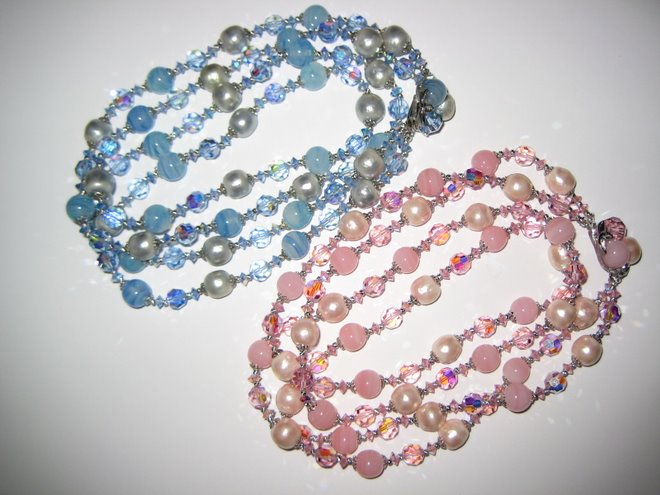 Baby Blue and Pink Sherman Pearl Bead Crystal