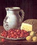 Bodegón con cerezas y queso. Autor: L.Meléndez