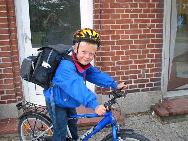 Sebastians første skoledag i 0.B