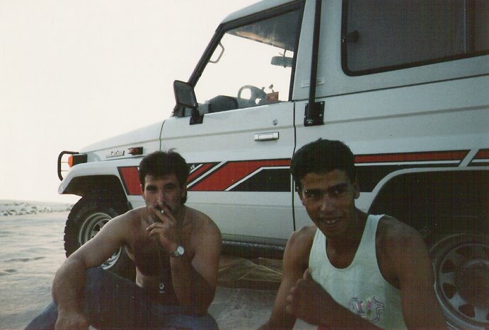 """Atardecer en las dunas de Nefta junto al """"Bruto"""" me refiero al Toyota"""