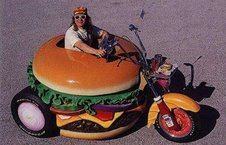 And an unusual (hamburger) motorcycle...