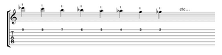 chromatic scale, descending, treble E string
