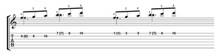 scale fragment played in single and two positions