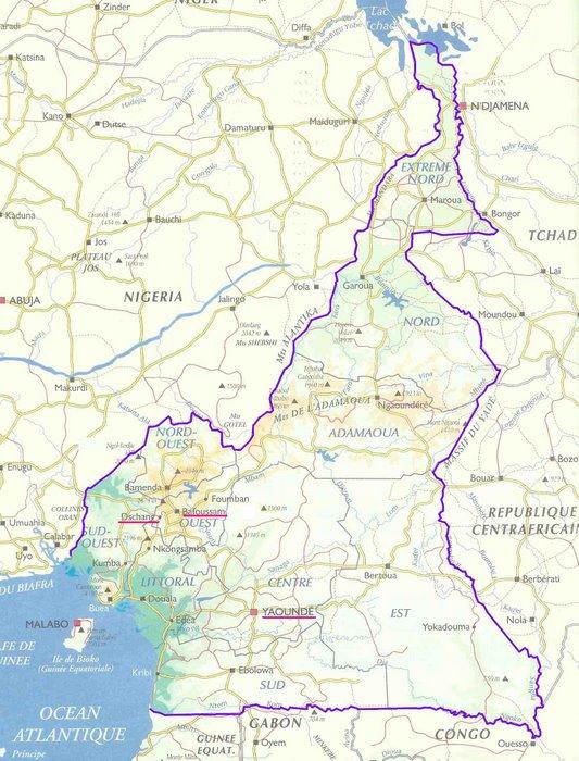 La carte de Cameroun