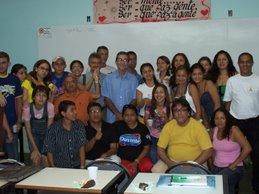 Jornalistas do IESPES e o professor Manuel Dutra