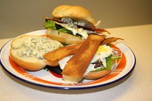 "fried egg sandwich with blue cheese ""n bacn"