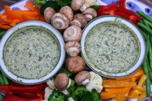 blanched crudite with artichoke dip