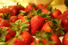 fresh strawberries for ice cream makin""
