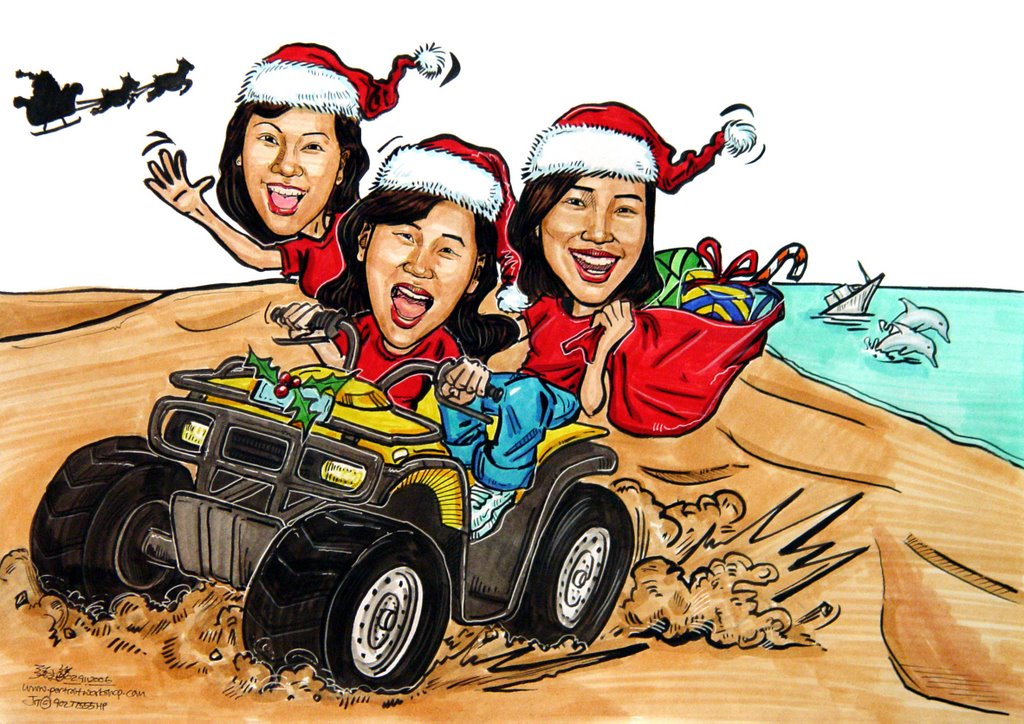 Caricatures for Tourism New South Wales Christmas Card 2006