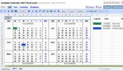 Smartly use google documents and spreadsheets 2007 calendar with or click the google spreadsheet template of the calendar template calendar with fiscal week pronofoot35fo Images