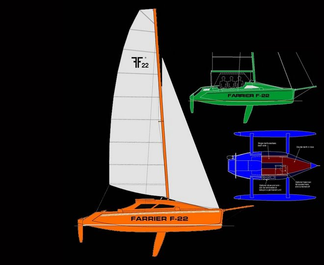 F-22 trimaran drawings assembled from the Farrier Marine website