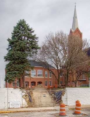 Saint Francis Borgia Church in Washington, MIssouri - construction