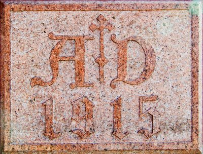 Saint George Catholic Church, in Hermann, Missouri - cornerstone, dated A.D. 1915