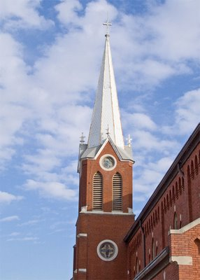 Saint George Catholic Church, in Hermann, Missouri - spire