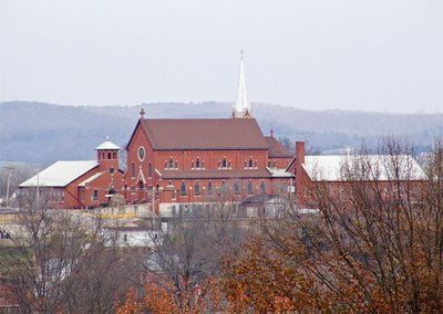 Saint George Catholic Church, in Hermann, Missouri - view from Stone Hill Winery