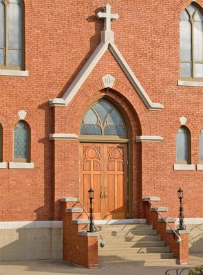 Saint George Catholic Church, in Hermann, Missouri - front door