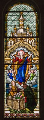 Saint Francis Borgia Church in Washington, MIssouri - stained glass window of the Assumption of Mary