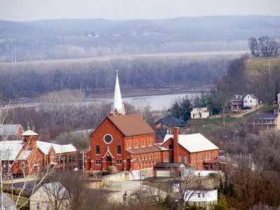 Saint George Catholic Church, in Hermann, Missouri - exterior view